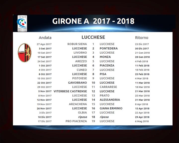 Pisa Calendario.Ecco Il Calendario Completo Di C Lucchese Pisa L 8 Ottobre
